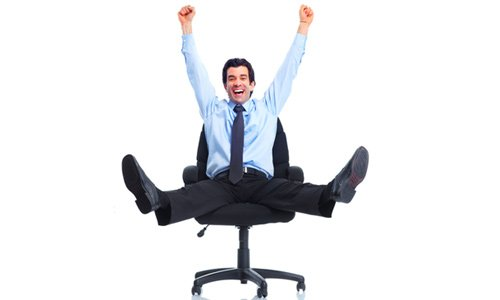 Happy employee with no work stress