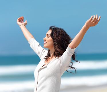 woman enjoying a wellbeing retreat